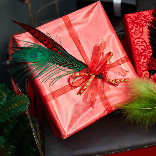Presents in Santa's sleigh, nicely decorated with feathers of course!