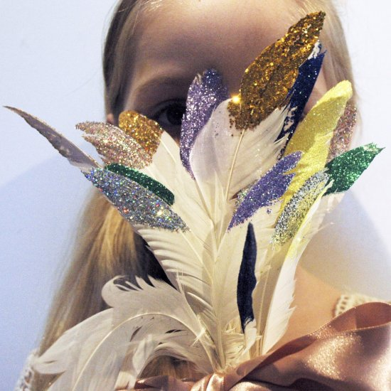 Glitter feathers pointed