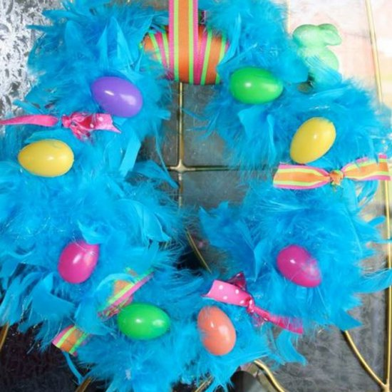 Colorful Easter wreath with boa